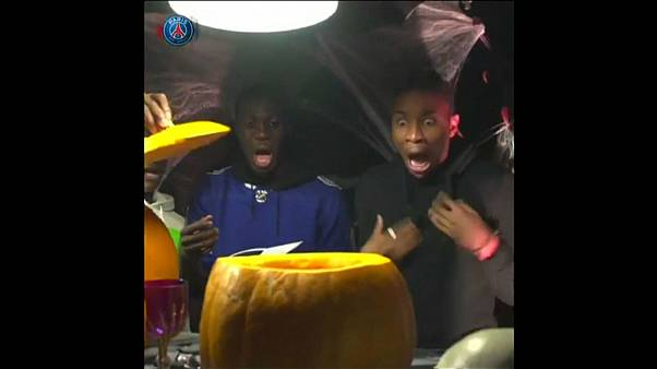 Paris Pumpkin Penalty! Footballers get into Halloween spirit