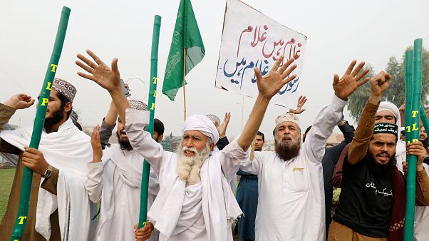 Protestors in Peshawar after the verdict acquitting Asia Bibi of blasphemy