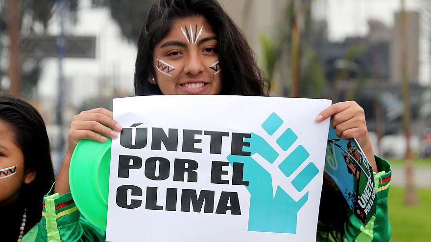Peru'nun başkenti Lima'da iklim değişikliği politikalarına karşı protesto