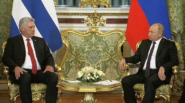 El presidente cubano con su homólogo ruso