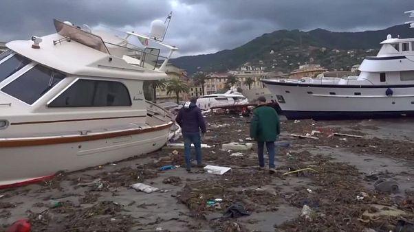Hundreds of boats were destroyed along the coastline of Liguria