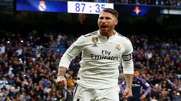 راموس لاعب ريال مدريد يحتفل بإحراز هدف في مرمى ريال بلد الوليد 03-11-2018