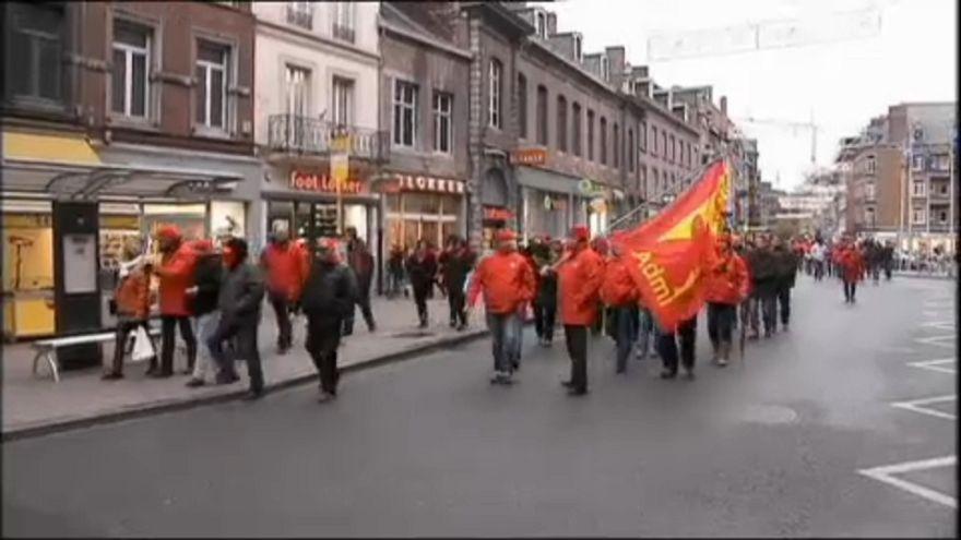 Protestas por la reforma del sistema de pensiones en Bélgica