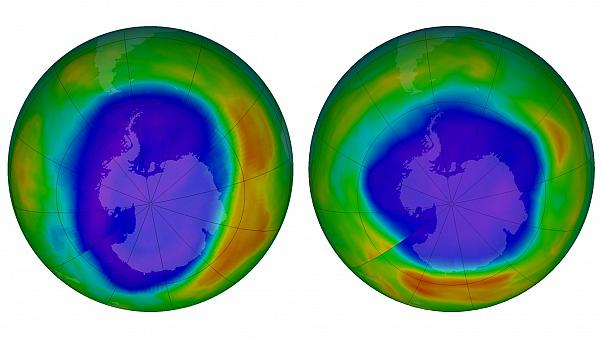 Areas of low ozone above Antartica in Sept 2010 (L) and Sept 2018 (R)