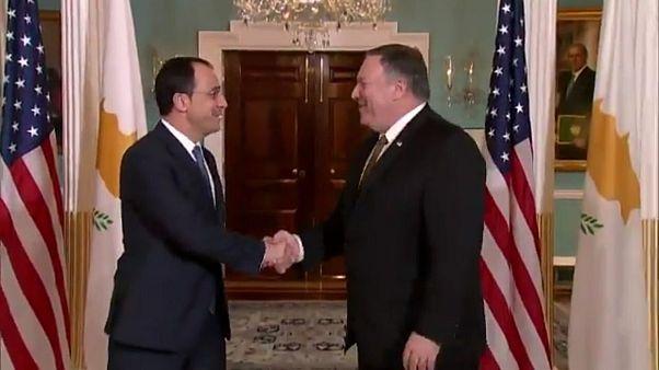 Kıbrıs'da sondaj geriliminin ardından Rum Bakan, ABD'de Pompeo ile görüştü
