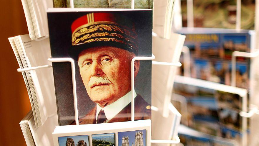 A postcard featuring Petain for sale in a souvenir shop near Verdun