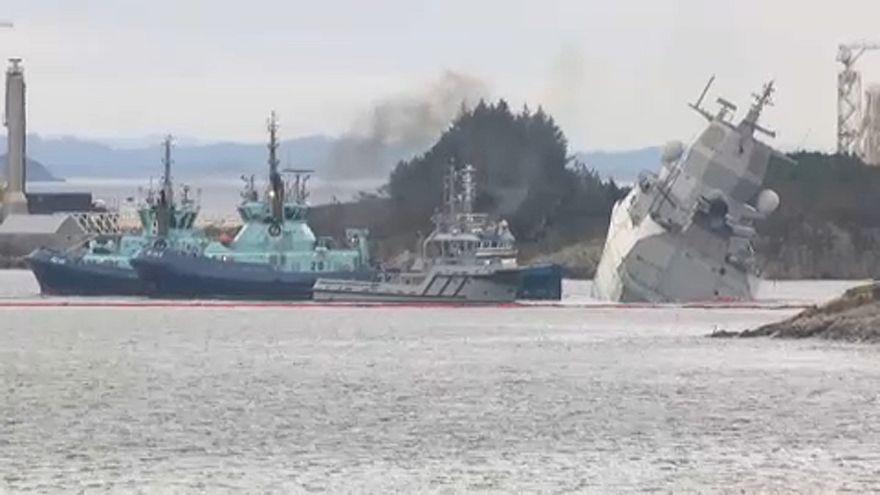 Norwegische Fregatte kollidiert mit Tanker - Schwierige Bergung