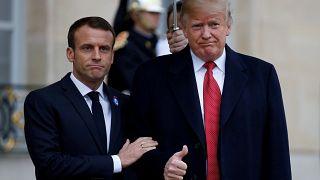 Trump e Macron reunidos em Paris