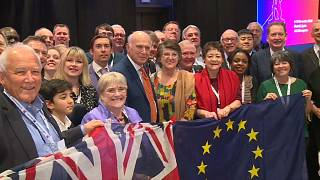 Teilnehmer des ALDE-Kongresses posieren mit GB- und Europaflagge