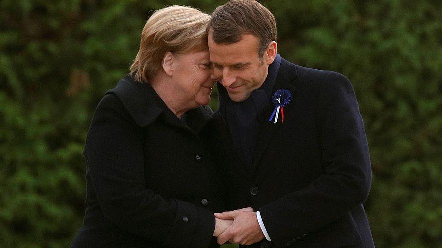 Merkel e Macron na cerimónia do centenário do armistício