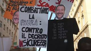 Italians and migrants march together against immigration policies in Rome