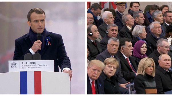 Macron, Trump ve Putin'in önünde milliyetçiliği 'ahlaki değerlere ihanet' olarak nitelendirdi