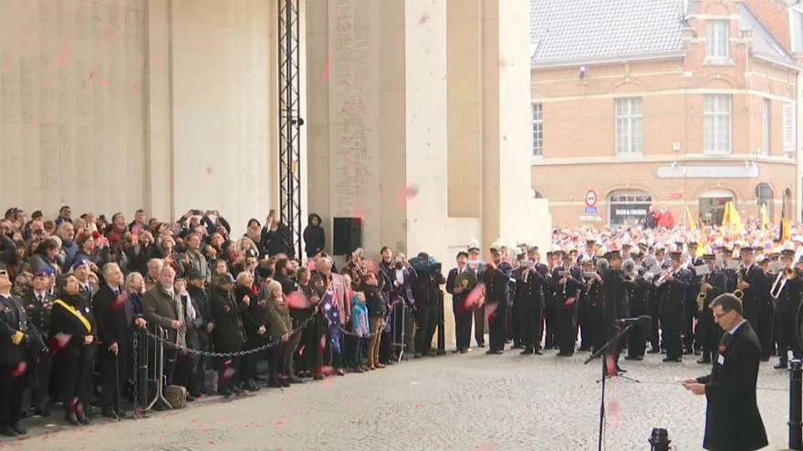 Watch: Poppies float down from Menin Gate during Armistice ceremony in Belgium
