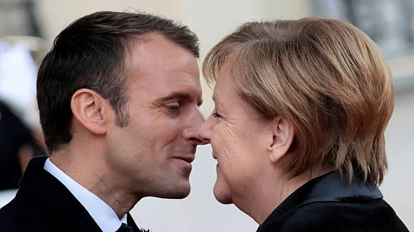 Emmanuel Macron and Angela Merkel on November 11, 2018.