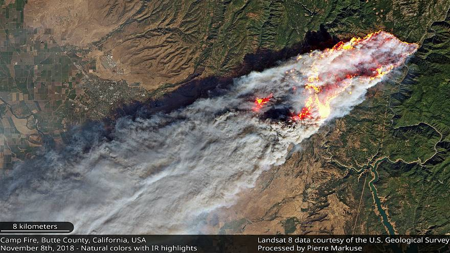California: el monstruoso incendio de Camp Fire, desde el espacio