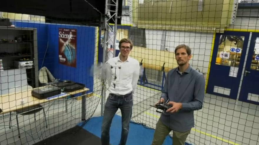 The researchers from Delft University of Technology with DelFly Nimble