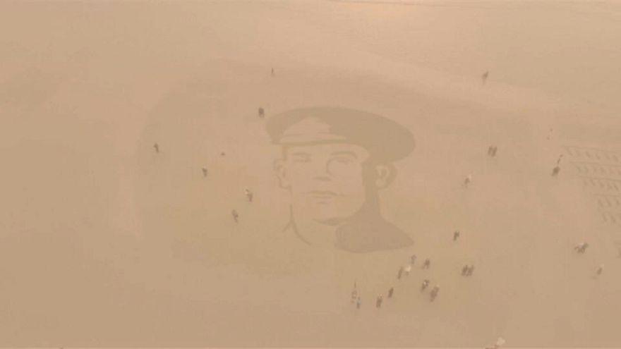 Portrait of World War One soldier engraved on UK beach