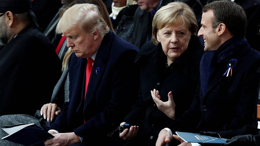 Emmanuel Macron, Angela Merkel and Donald Trump