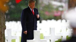 US President Donald Trump in Suresnes American Cemetery on Nov 11, 2018