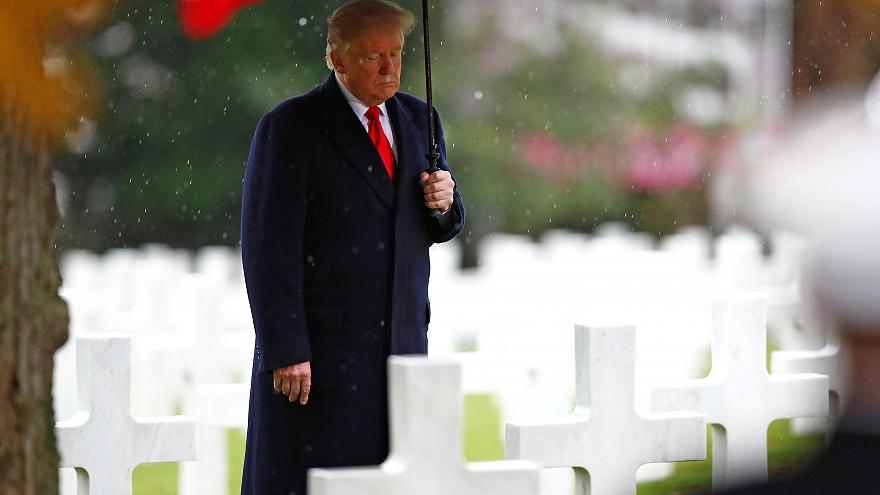 US President Donald Trump in Suresnes American Cemetery on Nov 11, 2018