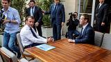 Macron and Zuckerberg during a meeting in Paris on May 23, 2018.