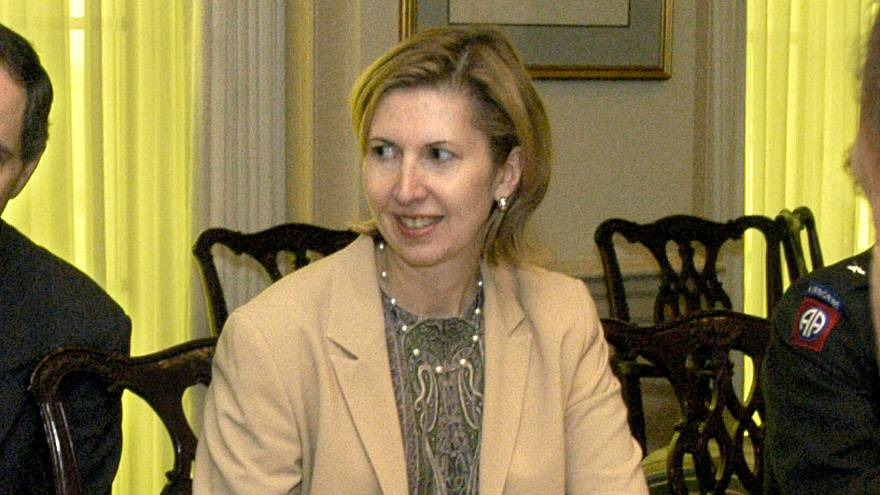 Mira Ricardel takes part in a meeting at the Pentagon in 2003.