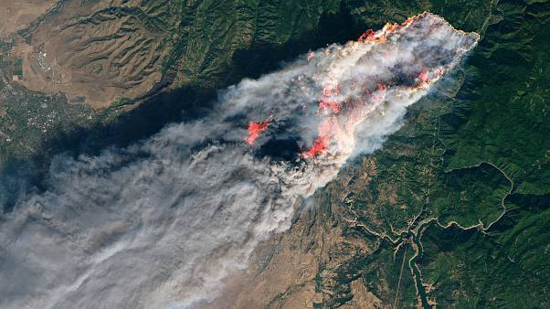 NASA's Operational Land Imager satellite image shows the Camp Fire burning