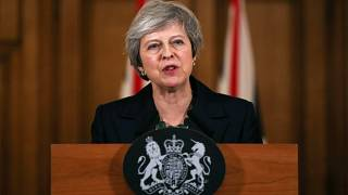Theresa May holds a news conference at Downing Street in London