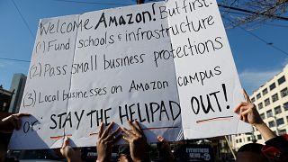 New York'ta eylem: Amazon'un genel merkezini burada istemiyoruz