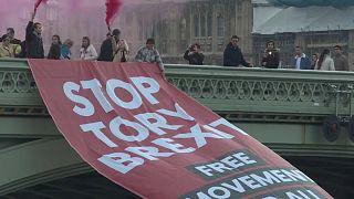Óriási brexitellenes molinó a londoni parlament előtt