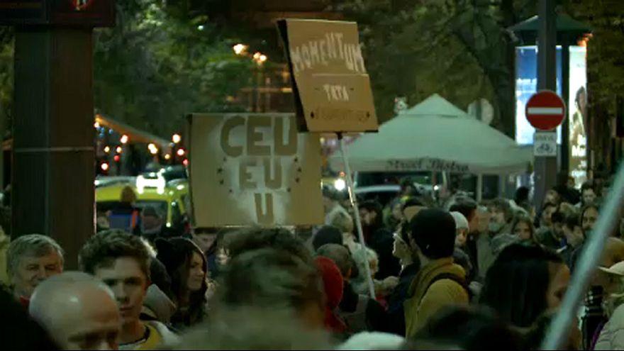 A CEU és az oktatás szabadsága miatt tüntettek