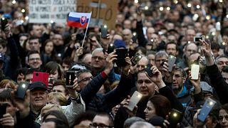 An earlier protest (April 2018) over the murder of journalist Jan Kuciak.