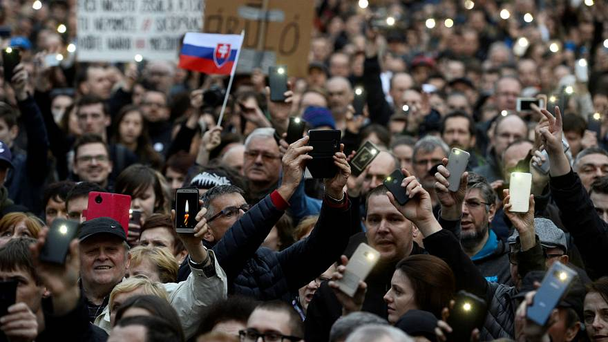 An earlier protest (April 2018) over the murder of journalist Jan Kuciak.