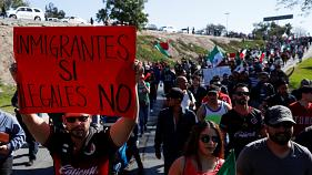 Manifestazioni pro e contro migranti a Tijuana, Messico