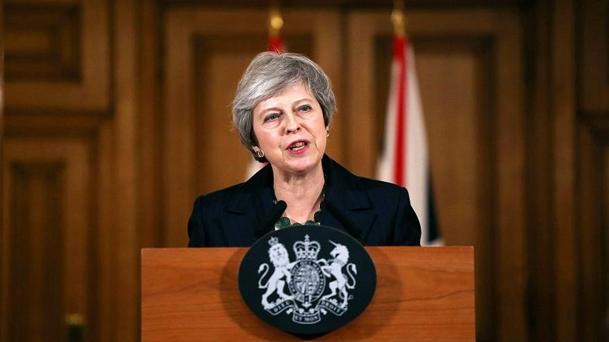Prime Minister Theresa May holds a news conference at Downing Street.
