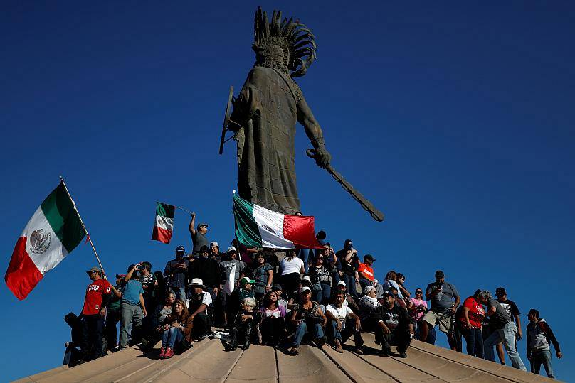 Tijuana residents protest the arrival of migrant caravan