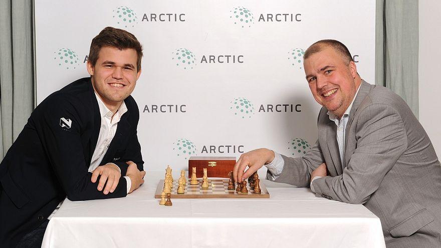 Chess grandmaster Magnus Carlsen (left) with Carl Fredrik Johansson.