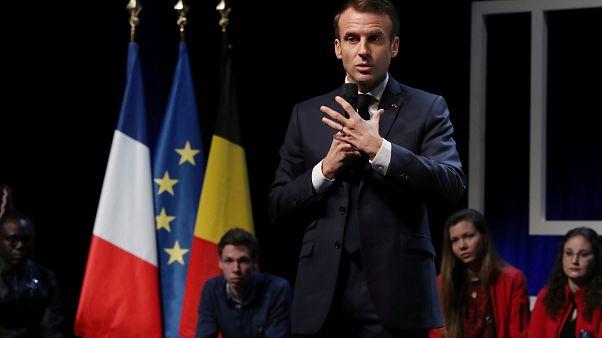 Emmanuel Macron lors d'une conférence à l'Université Catholique de Louvain
