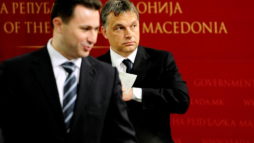 Gruevski pictured left. Orban pictured right