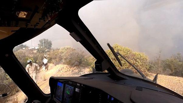 عملیات نجات سه نفر به همراه یک سگ از آتشسوزی کالیفرنیا