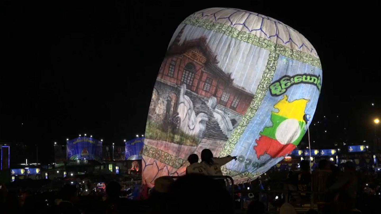 Exploding hot air balloon injures revellers at Myanmar