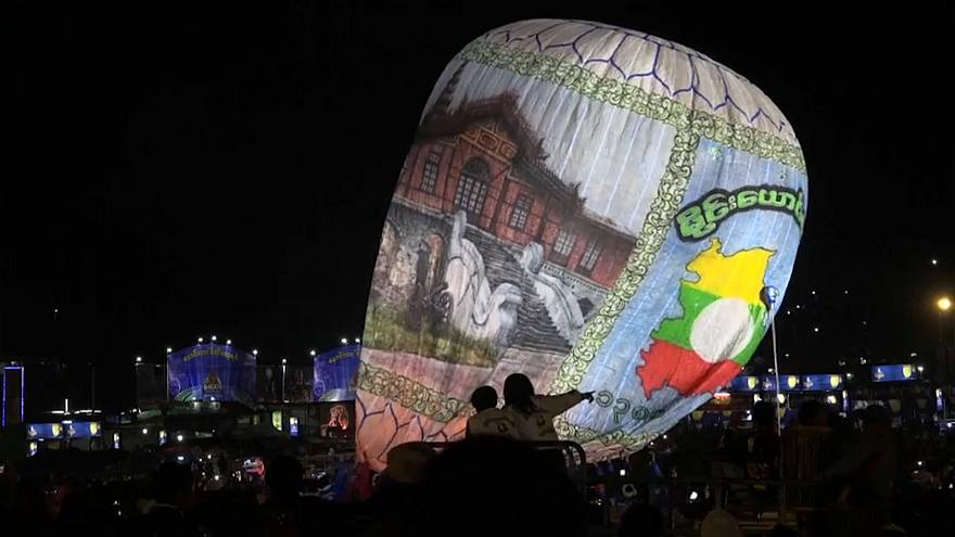 The balloon festival in Myanmar attracts thousands of people