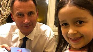 Jeremy Hunt with Nazanin's daughter Gabriella in Iran