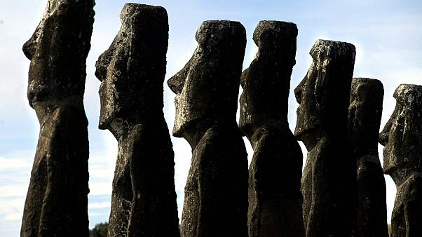 "A view of ""moai"" statues in Ahu Akivi, on Easter Island"