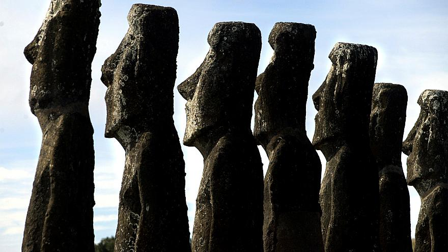 """A view of """"moai"""" statues in Ahu Akivi, on Easter Island"""