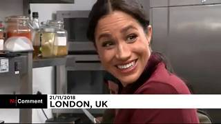 Meghan Markle serves food at community kitchen