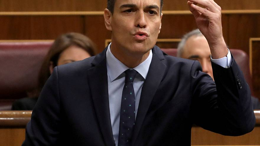 Spain's Prime Minister Pedro Sanchez speaks during a session at Parliament