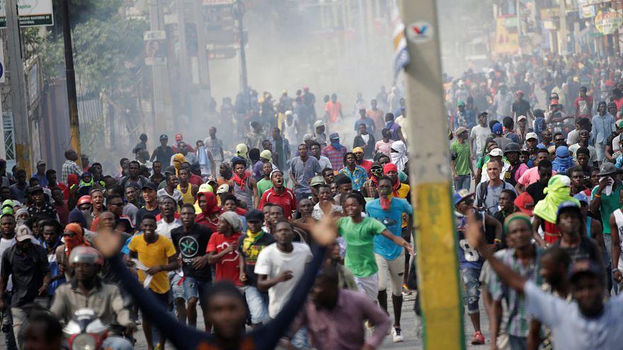 Manifestantes en la protesta contra el Gobierno en Puerto Príncipe 23/11/18