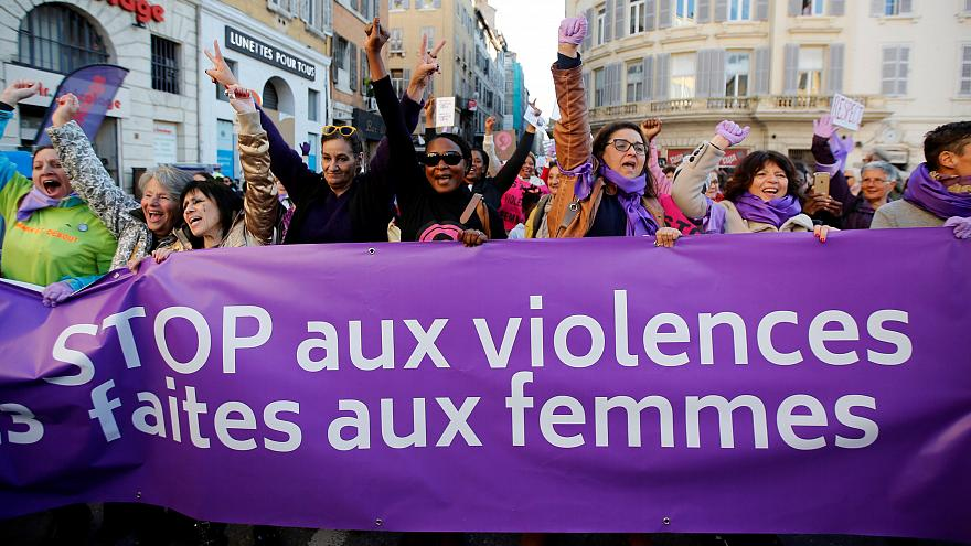 Women in Rome & Paris march against male violence