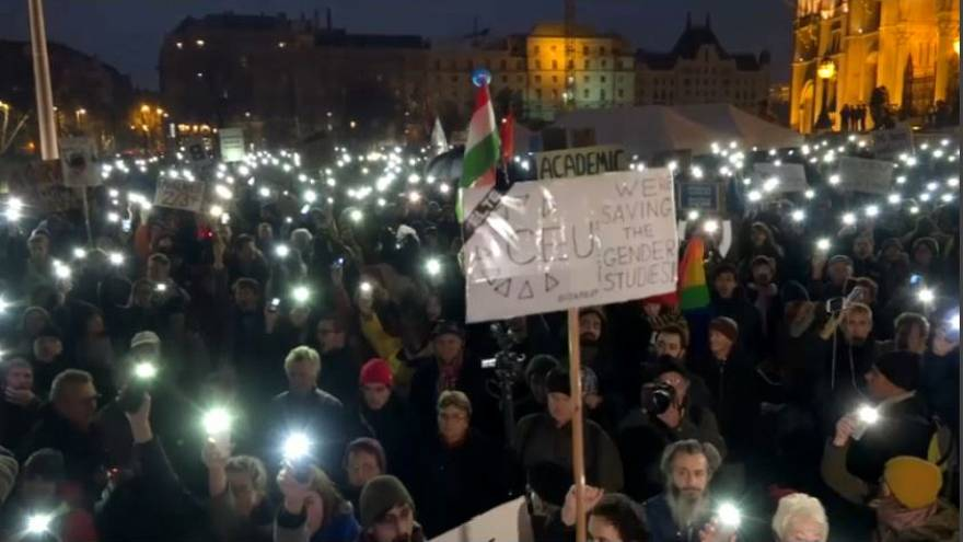 Hungarians march against Soros university closure plans